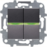 N2101.5 AN (2 шт.) + N2271.9 (1 шт.) - Выключатель двухклавишный с индикацией, 16А, ABB ZENIT (антрацит)