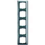 1725-0-1525 - Пятиместная рамка с декоративной накладкой ABB Basic 55 (голубая)