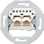 EPUAE8-8UPO - Механизм розетки телефонной двойной, UAE, для коннекторов RJ12 и RJ45, Jung