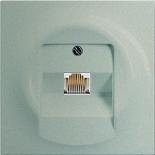 0230-0-0378+1753-0-8998 - Розетка телефонная для коннекторов RJ11/RJ12, RJ45, одиночная, с лицевой панелью ABB Impuls (шампань-металлик)