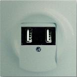 6400-0-0002+1753-0-5465 - Зарядка USB двойная, 1400мА (по 700мА на каждое гнездо), с лицевой панелью ABB Impuls (шампань-металлик)