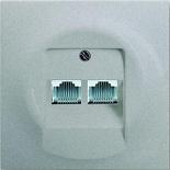 0230-0-0235+1753-0-0084 - Розетка телефонная на 2 коннектора с лицевой панелью ABB Impuls (серебристый металлик)