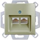 0230-0-0408 (1 шт.) + 1753-0-0203 (1 шт.) - Розетка компьютерная RJ-45, кат. 5, 2 выхода, с лицевой панелью, ABB Basic 55 (шампань)