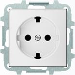 8188.9+2CLA858890A1101 - Розетка электрическая SCHUKO со шторками, 2К+З, с плоской поверхностью, 16А/250В, с накладкой ABB SKY (белый)