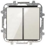 8122+2CLA851100A2101 - Переключатель двойной, 10А, с клавишей ABB Sky (белое стекло)