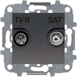 N2251.7 AN (1 шт.) + N2271.9 (1 шт.) - Розетка TV-R/SAT оконечная, ABB Zenit (антрацит)