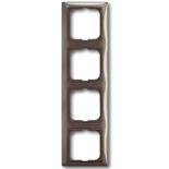 1725-0-1534 - Четырехместная рамка с декоративной накладкой ABB Basic 55 (серая)