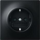2013-0-5334 - Розетка электрическая с заземлением и защитными шторками, 16A, ABB Impuls (чёрный бархат)