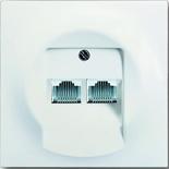 0230-0-0235+1753-0-0192 - Розетка телефонная на 2 коннектора с лицевой панелью ABB Impuls (белый бархат)