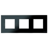 N2273 CN - Трехместная рамка, ABB ZENIT (черное стекло)