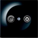 S2900-10+1753-0-0581 - Розетка TV-FM проходная, с механизмом Jung и панелью АВВ Импульс (черный бриллиант)