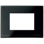 N2473 CN - Трехмодульная рамка итальянского стандарта, ABB ZENIT (черное стекло)