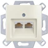 13810405-1 (1 шт.) + 1753-0-0209 (1 шт.) - Розетка компьютерная FMT RJ-45, кат. 6, 2 выхода, с лицевой панелью, ABB Basic 55 (шале-белая)