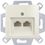 13510405-1 (1 шт.) + 1753-0-0209 (1 шт.) - Розетка компьютерная FMT RJ-45, кат. 5, 2 выхода, с лицевой панелью, ABB Basic 55 (шале-белая)