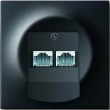 0230-0-0235+1753-0-0161 - Розетка телефонная на 2 коннектора с лицевой панелью ABB Impuls (черный бархат)