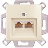 0230-0-0408 (1 шт.) + 1753-0-0097 (1 шт.) - Розетка компьютерная RJ-45, кат. 5, 2 выхода, с лицевой панелью, ABB Basic 55 (слоновая кость)