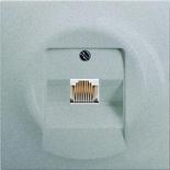 0230-0-0378+1753-0-0087 - Розетка телефонная для коннекторов RJ11/RJ12, RJ45, одиночная, с лицевой панелью ABB Impuls (серебристый металлик)