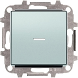 8102+2CLA819202A1001+2CLA850130A1301 - Переключатель одноклавишный с подсветкой, 10А, с клавишей ABB Sky (серебристый алюминий)