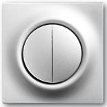 1012-0-2111+1753-0-0065 - Выключатель двухклавишный с подсветкой, с клавишами ABB Impuls (серебристый металлик)