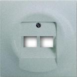 1753-0-0084 - Лицевая панель для розеток коммутационных на 2 коннектора, ABB Impuls (серебристый металлик)
