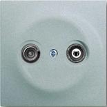 S2900-10+1753-0-0040 - Розетка TV-FM проходная, с механизмом Jung и панелью ABB Impuls (серебристый металлик)