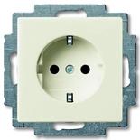 2013-0-5339 - Розетка с заземлением со шторками с безвинтовыми зажимами АВВ Basic 55, (шале-белая)