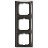 1725-0-1508 - Трехместная рамка с декоративной накладкой ABB Basic 55 (шато-черная)