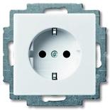 2013-0-5278 - Розетка с заземлением со шторками с безвинтовыми зажимами ABB Basic55, (белая)