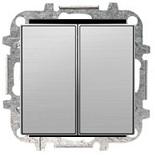 8111+2CLA851100A1401 - Выключатель двухклавишный, 10А, с клавишей ABB Sky (нержавеющая сталь)