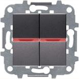 N2110 AN (2 шт.) + N2192 RJ (2 шт.) + N2271.9 (1 шт.) - Переключатель 2-клавишный промежуточный с подсветкой, 16А, ABB ZENIT (антрацит)