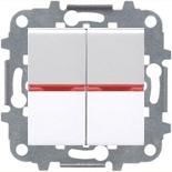 N2102 BL (2 шт.) + N2192 RJ (2 шт.) + N2271.9 (1 шт.) - Переключатель двухклавишный с подсветкой, 16А, ABB ZENIT (белый)