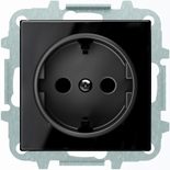 8188+2CLA858800A2501 - Розетка электрическая SCHUKO с заземлением и защитными шторками, винтовые клеммы, 16А/250В, с накладкой ABB SKY (чёрное стекло)