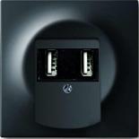 6400-0-0002+1753-0-0148 - Зарядка USB двойная, 1400мА (по 700мА на каждое гнездо), с лицевой панелью ABB Impuls (черный бархат)