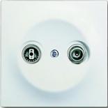 0230-0-0268+1753-0-0168 - Розетка TV-FM проходная, с лицевой панелью ABB Impuls (белый бархат)
