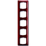 1725-0-1520 - Пятиместная рамка с декоративной накладкой ABB Basic 55 (красная)