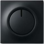 6515-0-0840+6599-0-2974 - Светорегулятор (диммер) поворотный с возвратно-нажимным переключателем, с подсветкой, 600Вт, ABB Impuls (чёрный бархат)