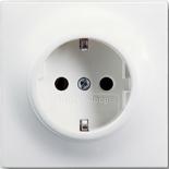 2013-0-5335 - Розетка электрическая с заземлением и защитными шторками, 16A, ABB Impuls (белый бархат)