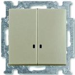 1012-0-2168 - Выключатель двухклавишный с подсветкой ABB Basic 55 (шампань)
