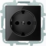 8188.9+2CLA858890A2501 - Розетка электрическая SCHUKO со шторками, 2К+З, с плоской поверхностью, 16А/250В, с накладкой ABB SKY (чёрное стекло)