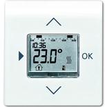 1032-0-0509+6430-0-0300 - Терморегулятор (термостат) электронный для тёплых полов, с таймером, 16А/250В, с лицевой панелью ABB Impuls (альпийский белый)