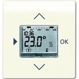 1032-0-0509+6430-0-0341 - Терморегулятор (термостат) электронный для тёплых полов, с таймером, 16А/250В, с лицевой панелью ABB Impuls (слоновая кость)