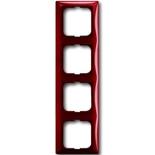 1725-0-1519 - Четырехместная рамка с декоративной накладкой ABB Basic 55 (красная)