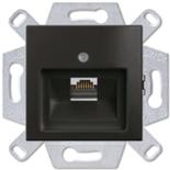 1753-0-0207 (1 шт.) + 0230-0-0406 (1 шт.) - Розетка компьютерная RJ-45, кат. 5, 1 выход, с лицевой панельюд, ABB Basic 55 (шато-черная)