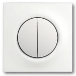 1012-0-2111+1753-0-0181 - Выключатель двухклавишный с подсветкой, с клавишами ABB Impuls (белый бархат)