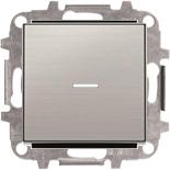 8110+2CLA819202A1001+2CLA850130A1401 - Переключатель одноклавишный проходной (перекрёстный) с подсветкой, 10А, с клавишей ABB Sky (нержавеющая сталь)