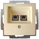 13010430 (1 шт.) + 1753-0-0097 (1 шт.) - Розетка телефонная FMT (RJ-11/12) 2 разъема ABB Basic 55 (слоновая кость)