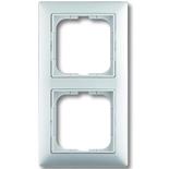 1725-0-1480 - Двухместная рамка с декоративной накладкой ABB Basic 55 (белая)