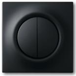 1012-0-2111+1753-0-0152 - Выключатель двухклавишный с подсветкой, с клавишами ABB Impuls (черный бархат)