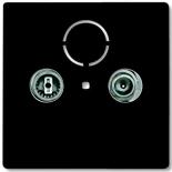 1724-0-4314 (1 шт.) + S2900 (1 шт.) - Розетка TV-FM оконечная Jung с лицевой панелью Abb Basic 55 (шато-черная)