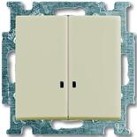 1012-0-2157 - Выключатель двухклавишный с подсветкой ABB Basic 55 (слоновая кость)
